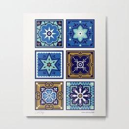 Talavera Mexican Tile – Navy & Bronze Palette Metal Print
