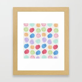 Colorful trendy colors large watercolor polka dots Framed Art Print