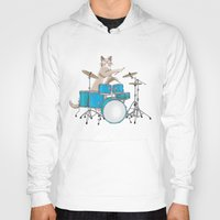 drums Hoodies featuring Cat Playing Drums - Blue by Ornaart