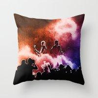 u2 Throw Pillows featuring U2 / Adam Clayton / The Edge by JR van Kampen