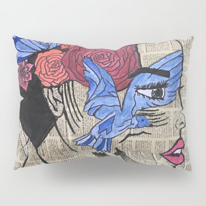 Whimsical News Girl Pillow Sham