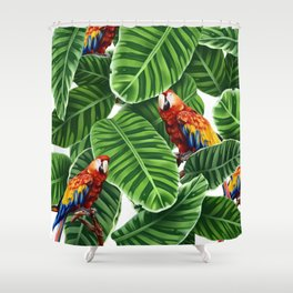 tropical leaves macaw pattern Shower Curtain