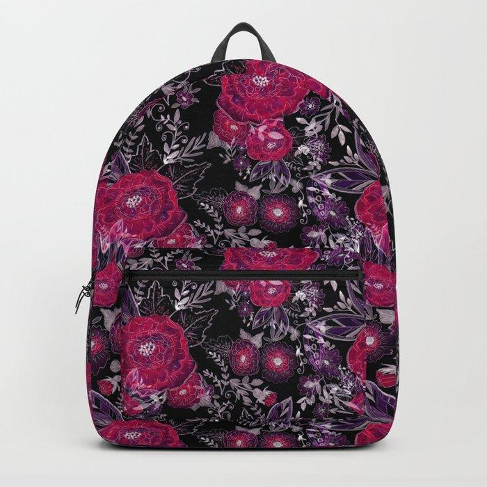 Pink roses on black background . Backpack