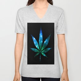 Weed : High Times Blue Green Galaxy Unisex V-Neck