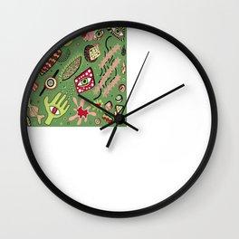 1980's Memphis Style, Dark Green Wall Clock