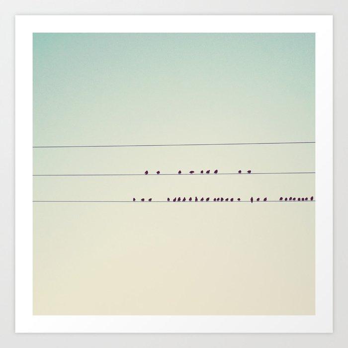 thirty-seven little birds sitting in a row ... Art Print