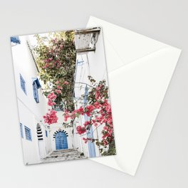 Blue Door Pink Blossom Photo | Tunisia Travel Photography | Alley With Blue Door And Pink Flowers Stationery Cards