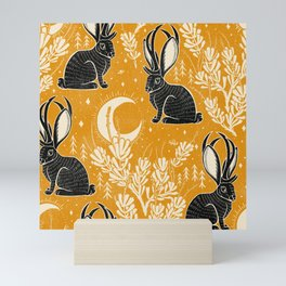 Jackalope - marigold and black  Mini Art Print
