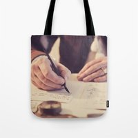 writing Tote Bags featuring hand writing by Zsolt Kudar