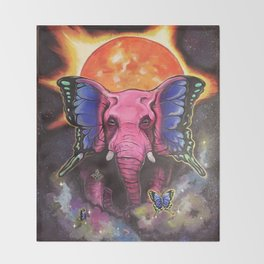 Pink Elephant Butterfly Throw Blanket