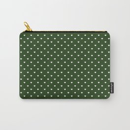Small White Polka Dot Hearts on Dark Forest Green Carry-All Pouch