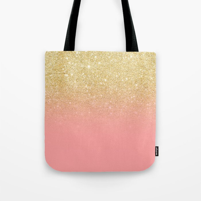 Modern gold ombre pink color block Tote Bag