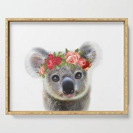 Cute Baby Animal Koala bear with Flower Crown Serving Tray