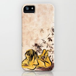 Children Drawing Flowers Painting iPhone Case