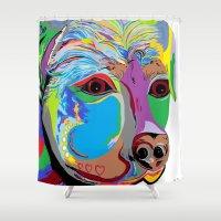 rottweiler Shower Curtains featuring Rottweiler by EloiseArt