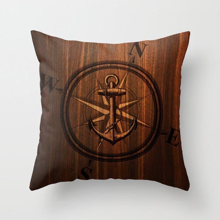 Wooden Anchor Throw Pillow