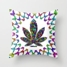 Butterflies Cannabis Leaf 2 Throw Pillow