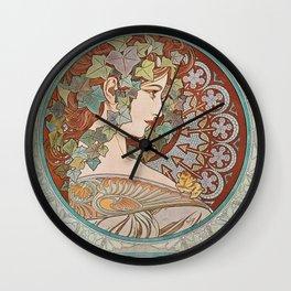 Alphonse Mucha - Ivy Wall Clock