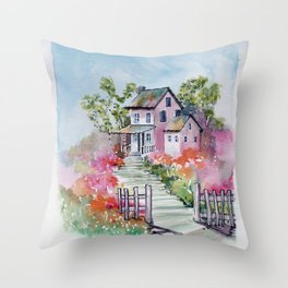 Summer Deaming at the Cottage Throw Pillow