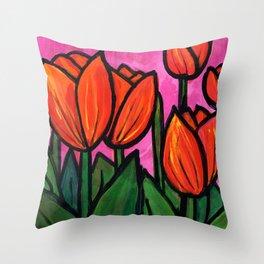 Tulips at Sunset Throw Pillow