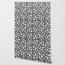The Little Farm Animals, white on grey Wallpaper