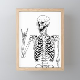 Rock and Roll Skeleton Framed Mini Art Print