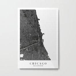 Chicago Illinois Minimal Black Mono Street Map Metal Print
