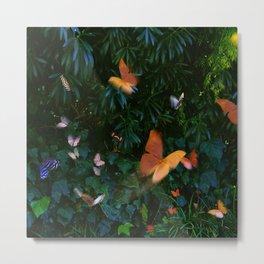 Elegant, Colorful Fantasy Butterflies in Flight Metal Print