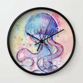 Jellyfish Watercolor Wall Clock