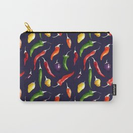Ink and watercolor hot chillies pattern on navy background Carry-All Pouch