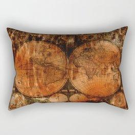 Rustic Old World Map Rectangular Pillow