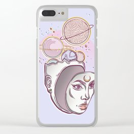 Face Falling From Space Clear iPhone Case