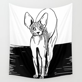 Black and White Sphynx Cat Line Drawing - Sphynx Lovers Gift - Naked Cat - Wrinkly Kitty Wall Tapestry