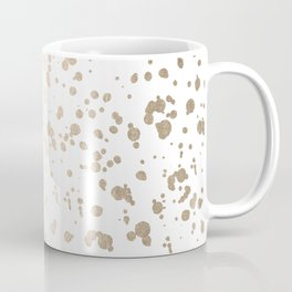 Luxe Gold Painted Dots on White Coffee Mug