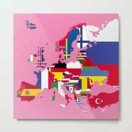 Europe flags pink Metal Print