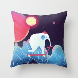 Space Elephant riding  Kick scooter Throw Pillow