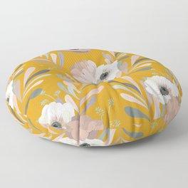 Anemones & Olives Yellow Floor Pillow