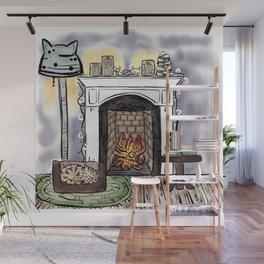 Cat Sleeping Near Fireplace Wall Mural