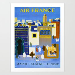 North Africa Tunisia Morocco Algeria Vintage Travel Poster Colorful Mid Century Commercial Advertisement Art Print