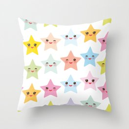 Kawaii stars pattern, face with eyes, pink green blue purple yellow Throw Pillow