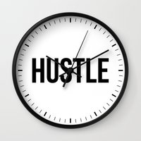 hustle Wall Clocks featuring HUSTLE by CreativeAngel