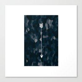 Blue Geometric Polygon White Single Arrow Canvas Print