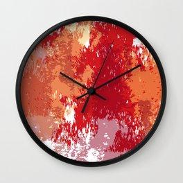 Red Orange Watercolor Wall Clock