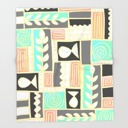 Fishes Seaweeds and Shells - Gray and Yellow Throw Blanket