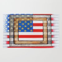 american flag Area & Throw Rugs featuring American Flag by Steve Hester