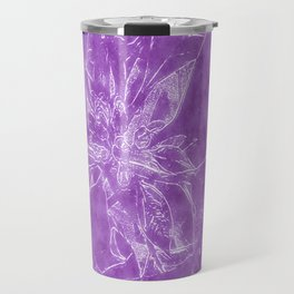 Pale Yellow Poinsettia 1 Outlined Purple Travel Mug