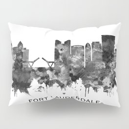 Fort Lauderdale Florida Skyline BW Pillow Sham