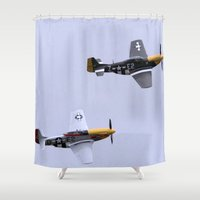 mustang Shower Curtains featuring Mustang P51 Flight by Premium