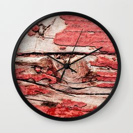 Impressive Old, Grunge Wooden Surface Painted Red Long Ago Wall Clock