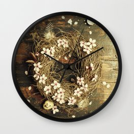Easter egg wreath on a wooden background Wall Clock